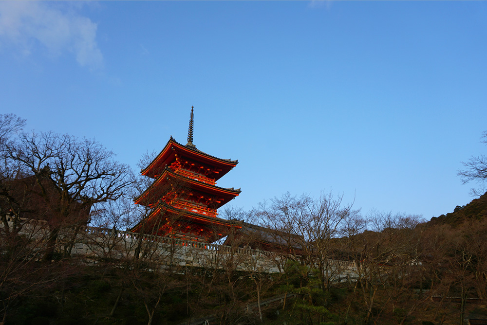 An exterior view of Kiyomizu-dera Temple.