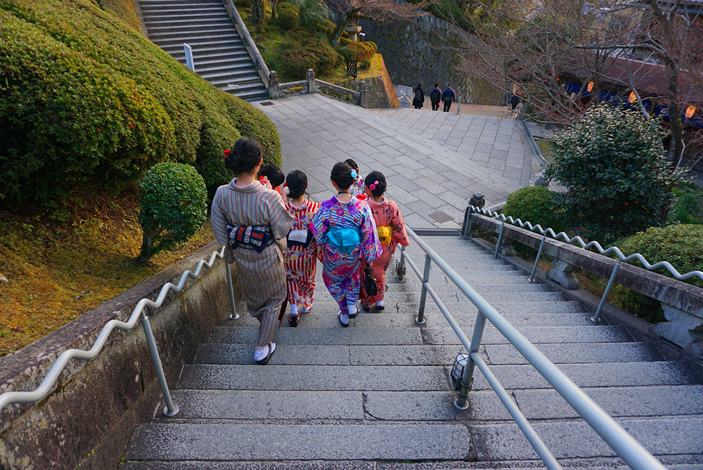 Exterior stairs at the Kiyomizu-dera Temple site.