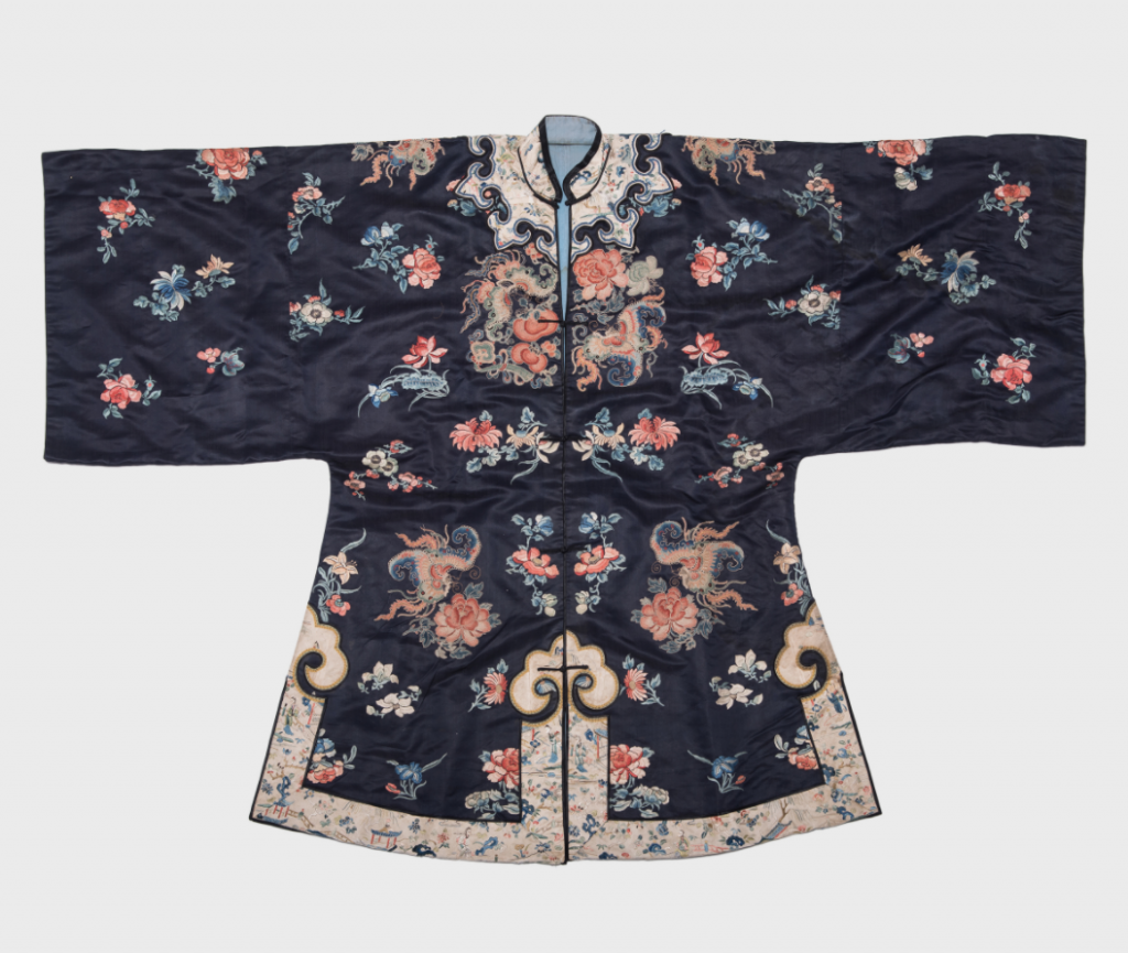 Embroidered Silk Lady's Butterfly Short Robe, c. 1850