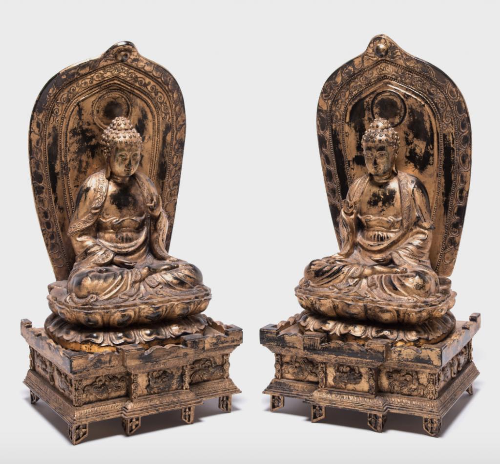 Pair of Gilt Sakyamuni Buddhas with Steles, c. 1900
