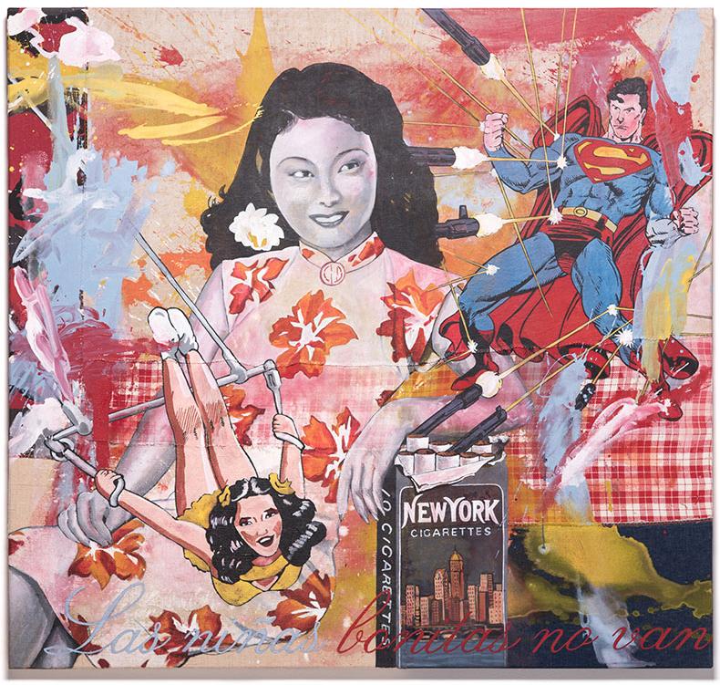 "Almudena Rodriguez. Pygmalion Effect XVII. 2015 Acrylic on hand sewn fabrics. 42"" x 50"" $6,600"
