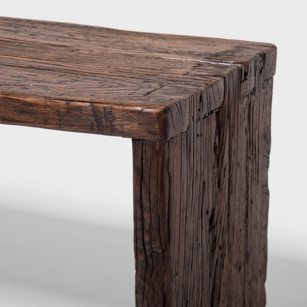 Detail from a Provincial Reclaimed Elm Waterfall Console Table