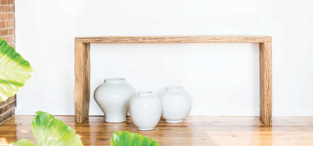 Blonde Provincial Reclaimed Elm Waterfall Console Table