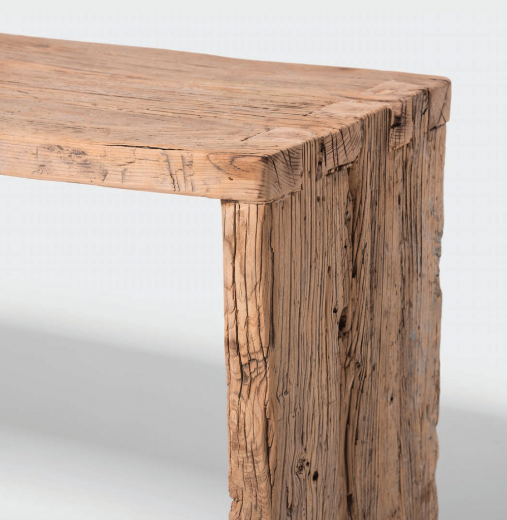 Detail from a Blonde Provincial Reclaimed Elm Waterfall Console Table